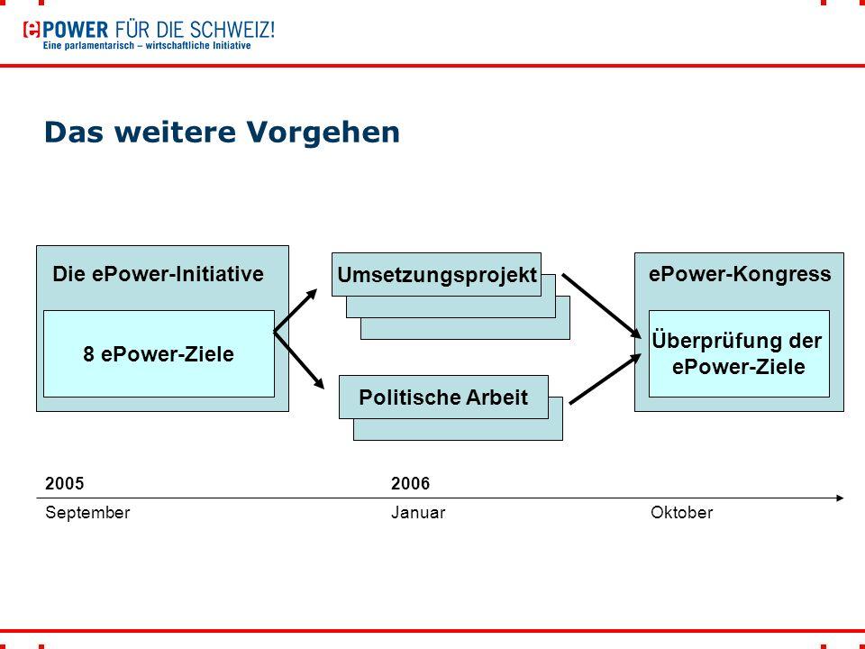 Das weitere Vorgehen 8 ePower-Ziele Die ePower-Initiative Umsetzungsprojekt Politische Arbeit Überprüfung der ePower-Ziele ePower-Kongress SeptemberJanuarOktober 20052006