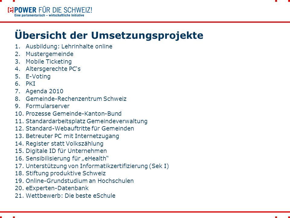 Übersicht der Umsetzungsprojekte 1.Ausbildung: Lehrinhalte online 2.Mustergemeinde 3.Mobile Ticketing 4.Altersgerechte PC's 5.E-Voting 6.PKI 7.Agenda