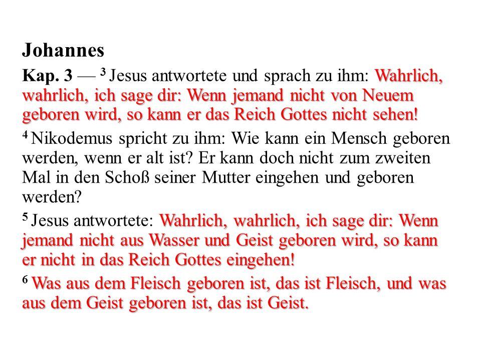 Johannes Wahrlich, wahrlich, ich sage dir: Wenn jemand nicht von Neuem geboren wird, so kann er das Reich Gottes nicht sehen.