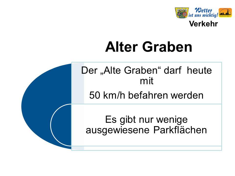 """Verkehr Der """"Alte Graben darf heute mit 50 km/h befahren werden Es gibt nur wenige ausgewiesene Parkflächen Alter Graben"""