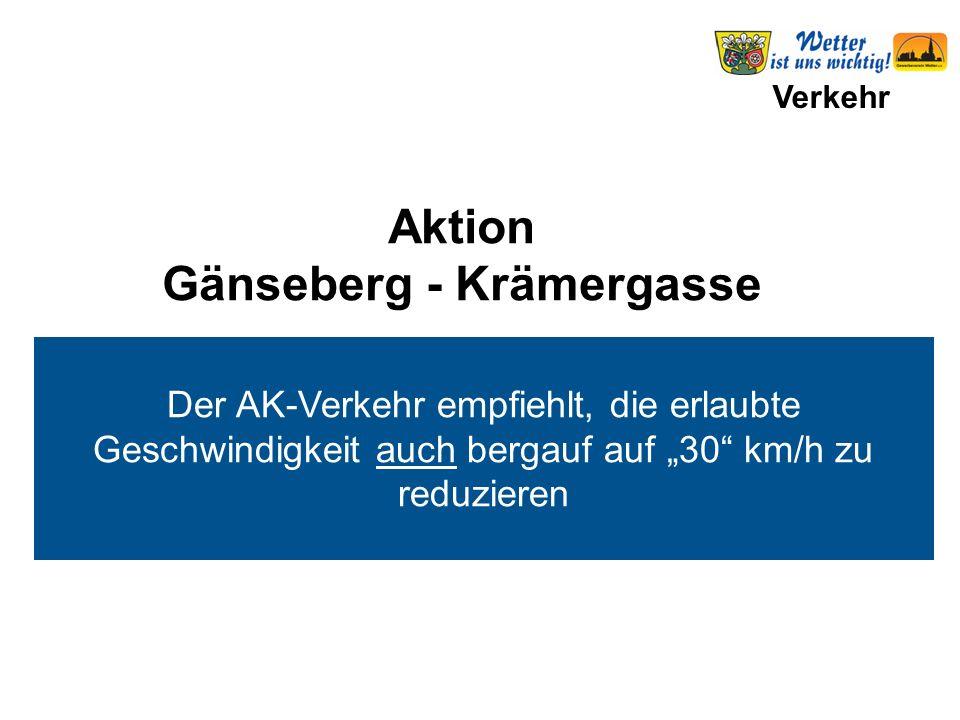 """Verkehr Der AK-Verkehr empfiehlt, die erlaubte Geschwindigkeit auch bergauf auf """"30"""" km/h zu reduzieren Aktion Gänseberg - Krämergasse"""