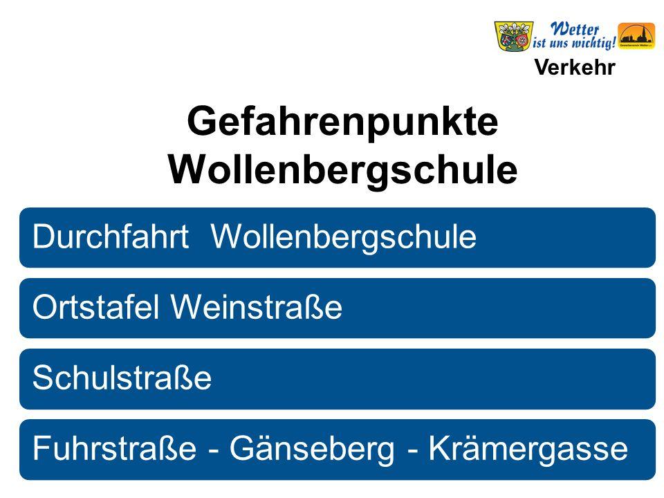 Verkehr Durchfahrt WollenbergschuleOrtstafel WeinstraßeSchulstraßeFuhrstraße - Gänseberg - Krämergasse Gefahrenpunkte Wollenbergschule
