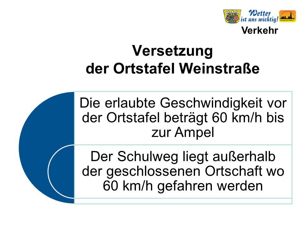 Verkehr Die erlaubte Geschwindigkeit vor der Ortstafel beträgt 60 km/h bis zur Ampel Der Schulweg liegt außerhalb der geschlossenen Ortschaft wo 60 km/h gefahren werden Versetzung der Ortstafel Weinstraße