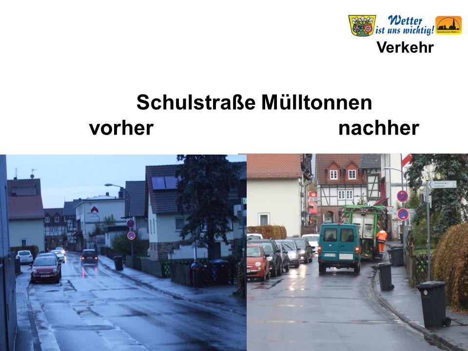 Verkehr Schulstraße Mülltonnen vorher nachher
