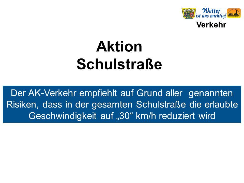 """Verkehr Der AK-Verkehr empfiehlt auf Grund aller genannten Risiken, dass in der gesamten Schulstraße die erlaubte Geschwindigkeit auf """"30"""" km/h reduzi"""