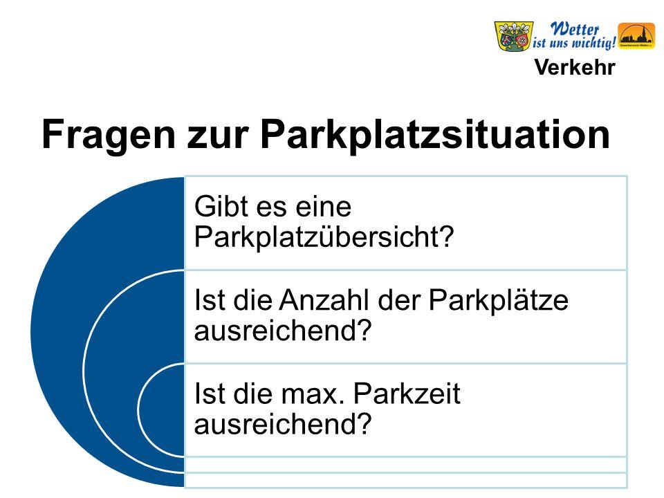 Verkehr Gibt es eine Parkplatzübersicht? Ist die Anzahl der Parkplätze ausreichend? Ist die max. Parkzeit ausreichend? Fragen zur Parkplatzsituation