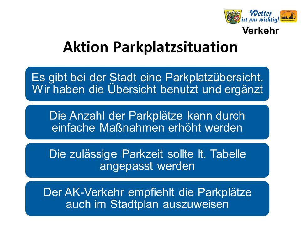 Verkehr Aktion Parkplatzsituation Es gibt bei der Stadt eine Parkplatzübersicht.