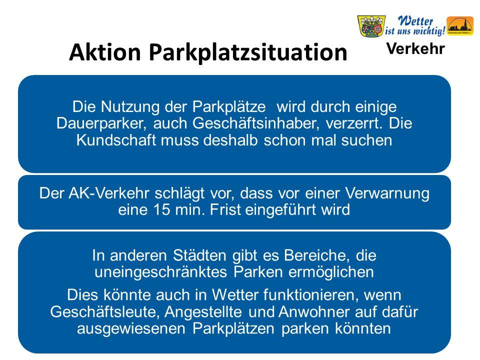 Verkehr Aktion Parkplatzsituation Die Nutzung der Parkplätze wird durch einige Dauerparker, auch Geschäftsinhaber, verzerrt. Die Kundschaft muss desha