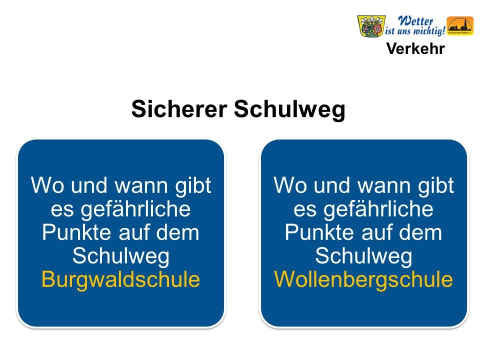 Verkehr Wo und wann gibt es gefährliche Punkte auf dem Schulweg Burgwaldschule Wo und wann gibt es gefährliche Punkte auf dem Schulweg Wollenbergschul