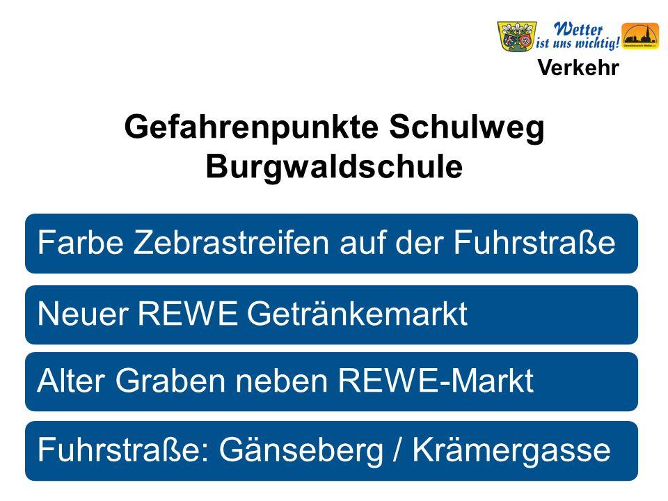 Verkehr Farbe Zebrastreifen auf der FuhrstraßeNeuer REWE GetränkemarktAlter Graben neben REWE-MarktFuhrstraße: Gänseberg / Krämergasse Gefahrenpunkte Schulweg Burgwaldschule