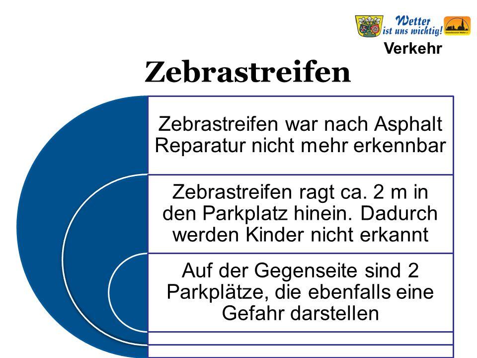 Verkehr Zebrastreifen war nachAsphalt Reparatur nicht mehr erkennbar Zebrastreifen ragt ca.
