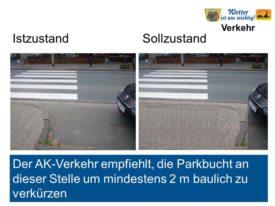 Verkehr Der AK-Verkehr empfiehlt, die Parkbucht an dieser Stelle um mindestens 2 m baulich zu verkürzen IstzustandSollzustand Parkbucht