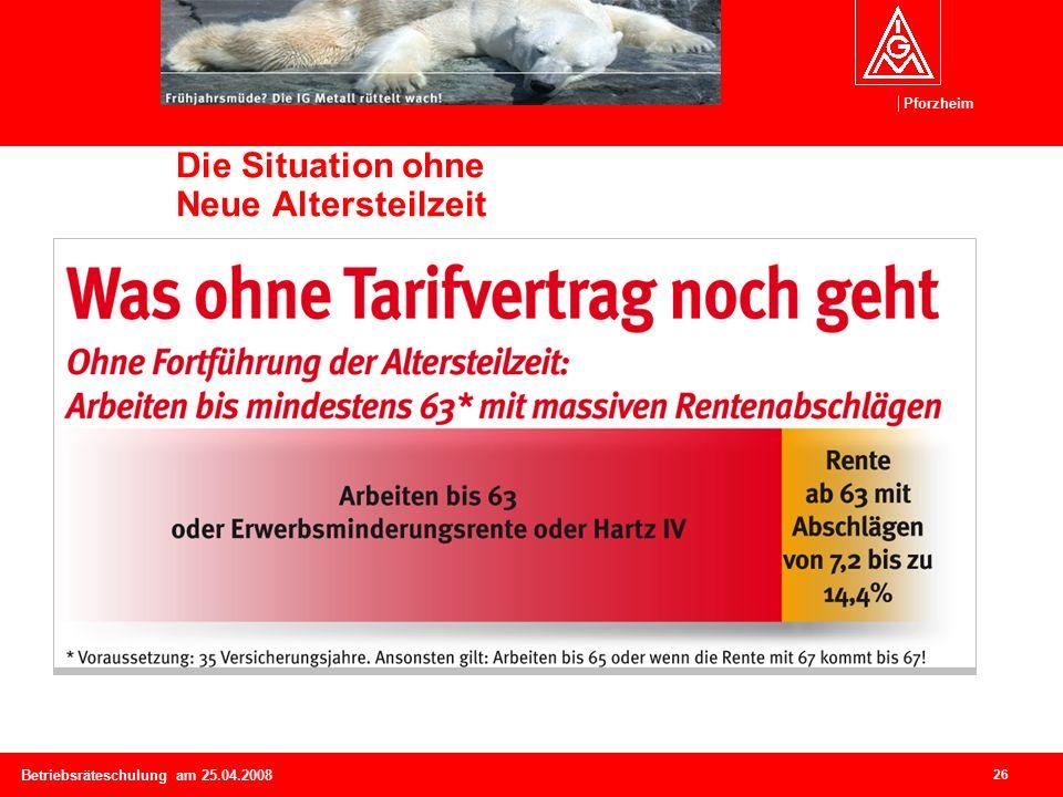 Pforzheim 26 Betriebsräteschulung am 25.04.2008 Die Situation ohne Neue Altersteilzeit