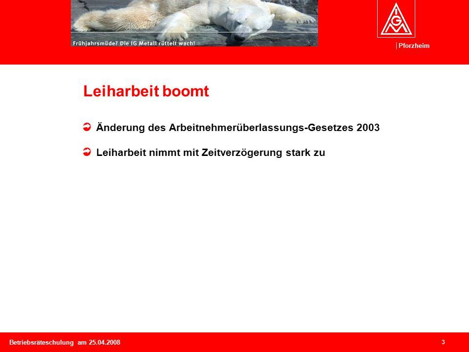 Pforzheim 3 Betriebsräteschulung am 25.04.2008 Leiharbeit boomt Änderung des Arbeitnehmerüberlassungs-Gesetzes 2003 Leiharbeit nimmt mit Zeitverzögerung stark zu