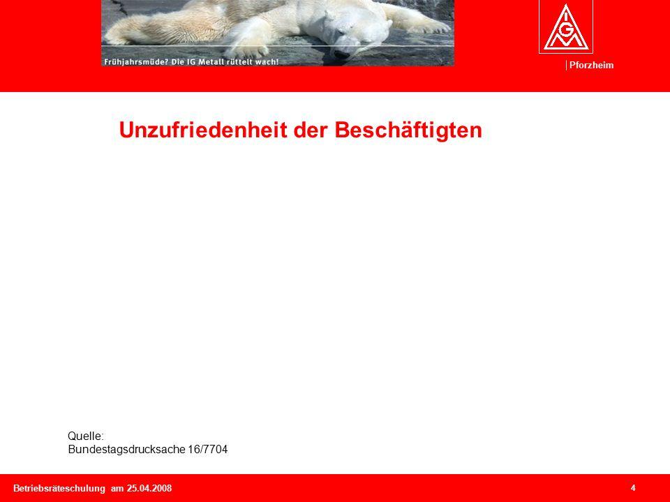 Pforzheim 4 Betriebsräteschulung am 25.04.2008 Unzufriedenheit der Beschäftigten Quelle: Bundestagsdrucksache 16/7704