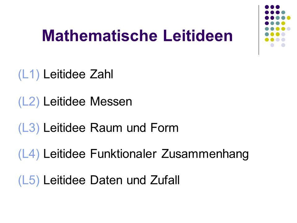 Mathematische Leitideen (L1) Leitidee Zahl (L2) Leitidee Messen (L3) Leitidee Raum und Form (L4) Leitidee Funktionaler Zusammenhang (L5) Leitidee Daten und Zufall