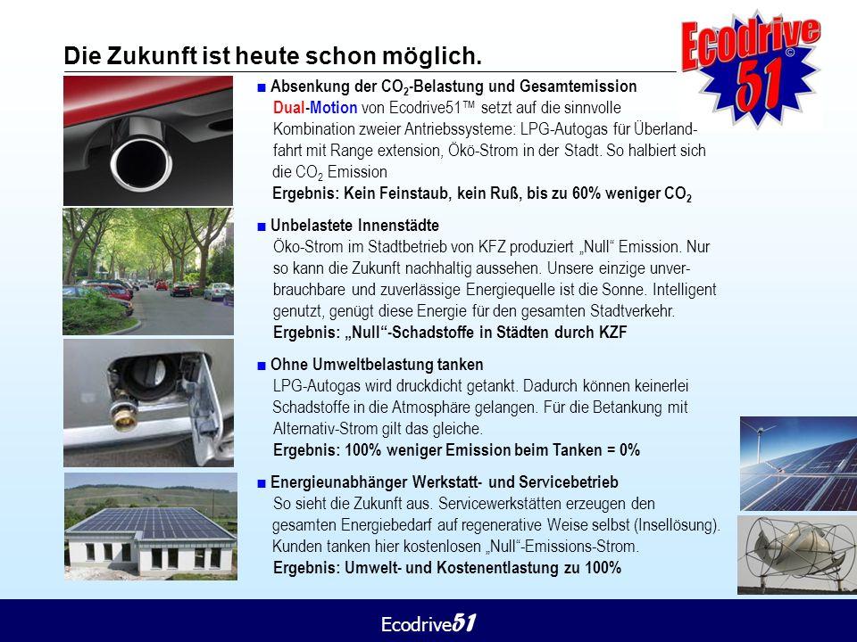 Ecodrive 51 Die Zukunft ist heute schon möglich. ■ Absenkung der CO 2 -Belastung und Gesamtemission Dual-Motion von Ecodrive51™ setzt auf die sinnvoll