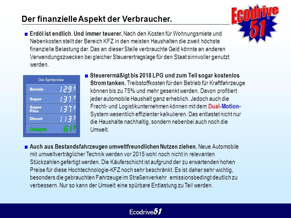 Ecodrive 51 Der finanzielle Aspekt der Verbraucher. ■ Erdöl ist endlich. Und immer teuerer. Nach den Kosten für Wohnungsmiete und Nebenkosten stellt d