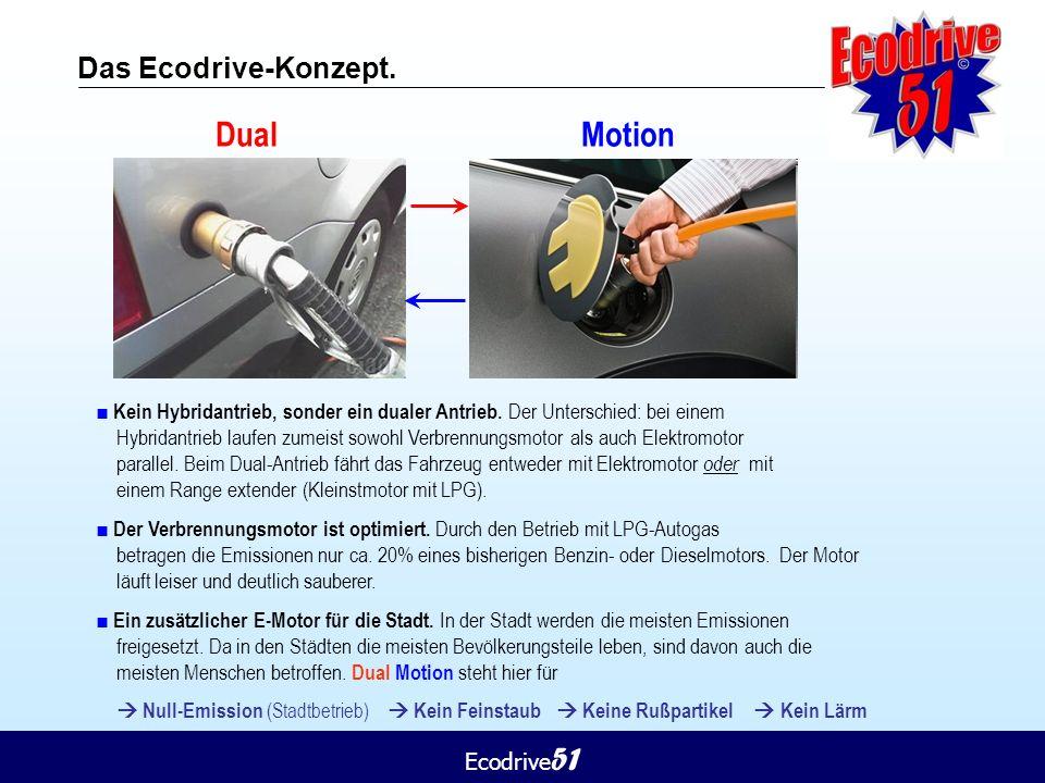 Ecodrive 51 Das Ecodrive-Konzept. Dual Motion ■ Kein Hybridantrieb, sonder ein dualer Antrieb. Der Unterschied: bei einem Hybridantrieb laufen zumeist