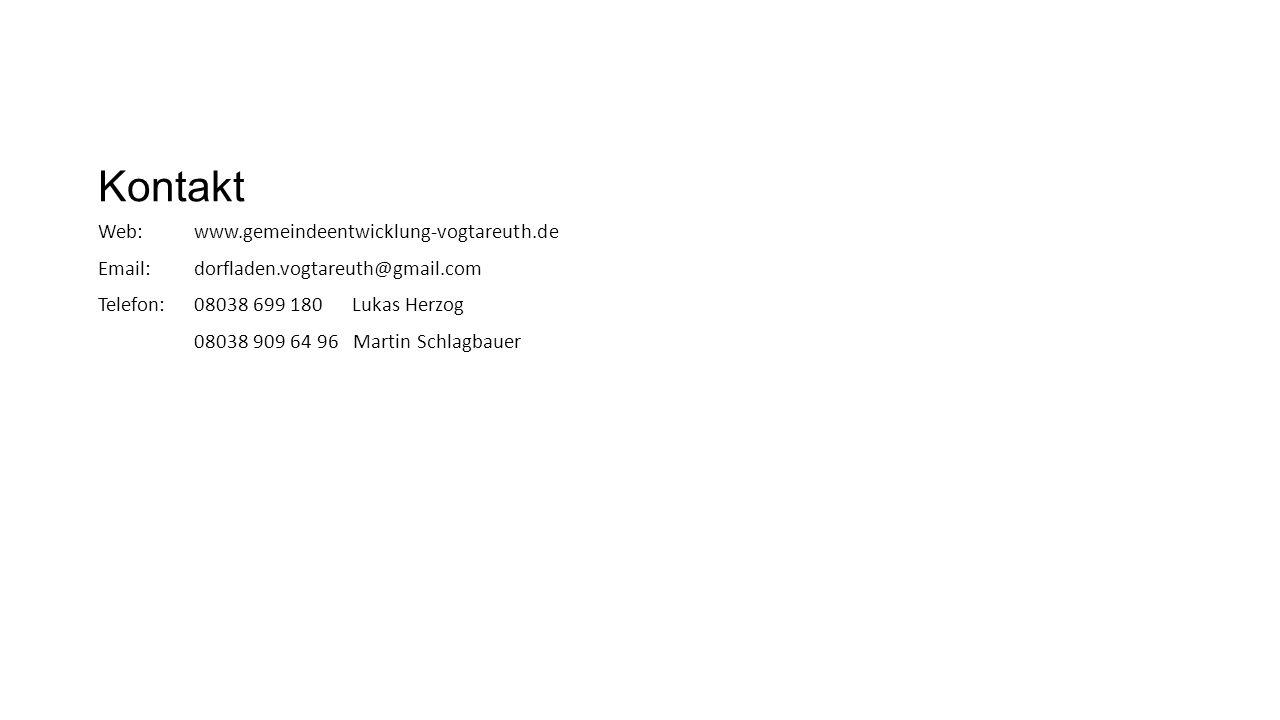 Kontakt Web:www.gemeindeentwicklung-vogtareuth.de Email: dorfladen.vogtareuth@gmail.com Telefon:08038 699 180 Lukas Herzog 08038 909 64 96 Martin Schlagbauer