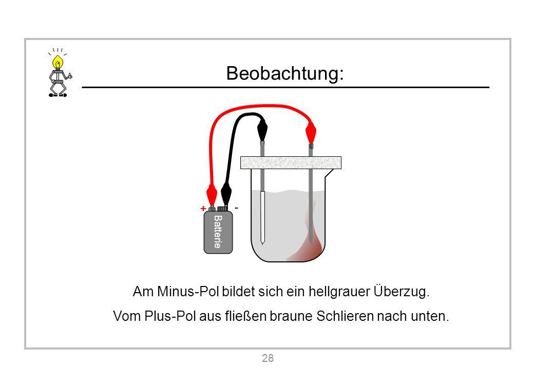 Beobachtung: Am Minus-Pol bildet sich ein hellgrauer Überzug.
