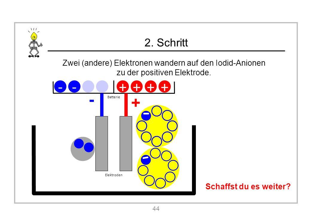 2. Schritt Zwei (andere) Elektronen wandern auf den Iodid-Anionen zu der positiven Elektrode.