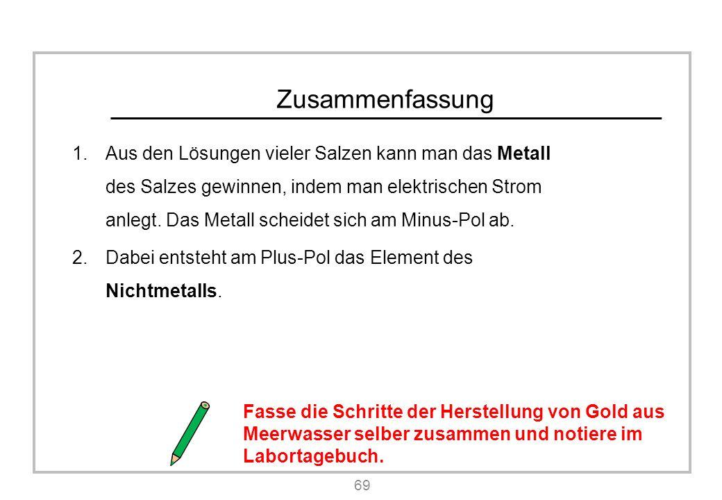 Zusammenfassung 1.Aus den Lösungen vieler Salzen kann man das Metall des Salzes gewinnen, indem man elektrischen Strom anlegt.