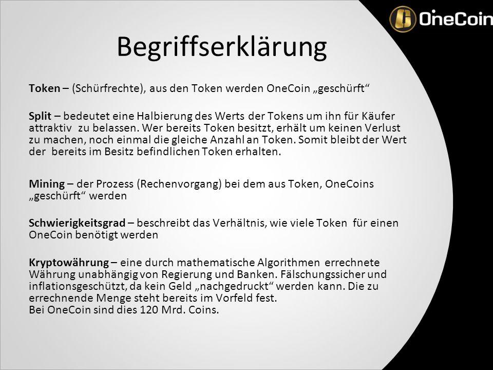"""Begriffserklärung Token – (Schürfrechte), aus den Token werden OneCoin """"geschürft Split – bedeutet eine Halbierung des Werts der Tokens um ihn für Käufer attraktiv zu belassen."""