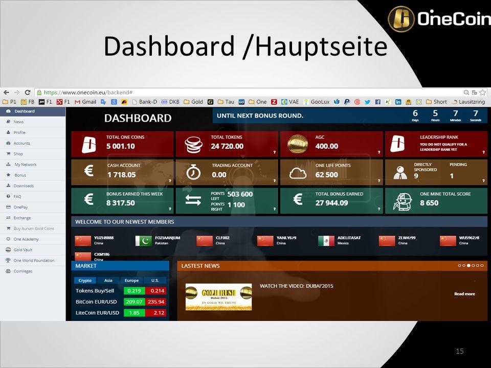 Dashboard /Hauptseite 15