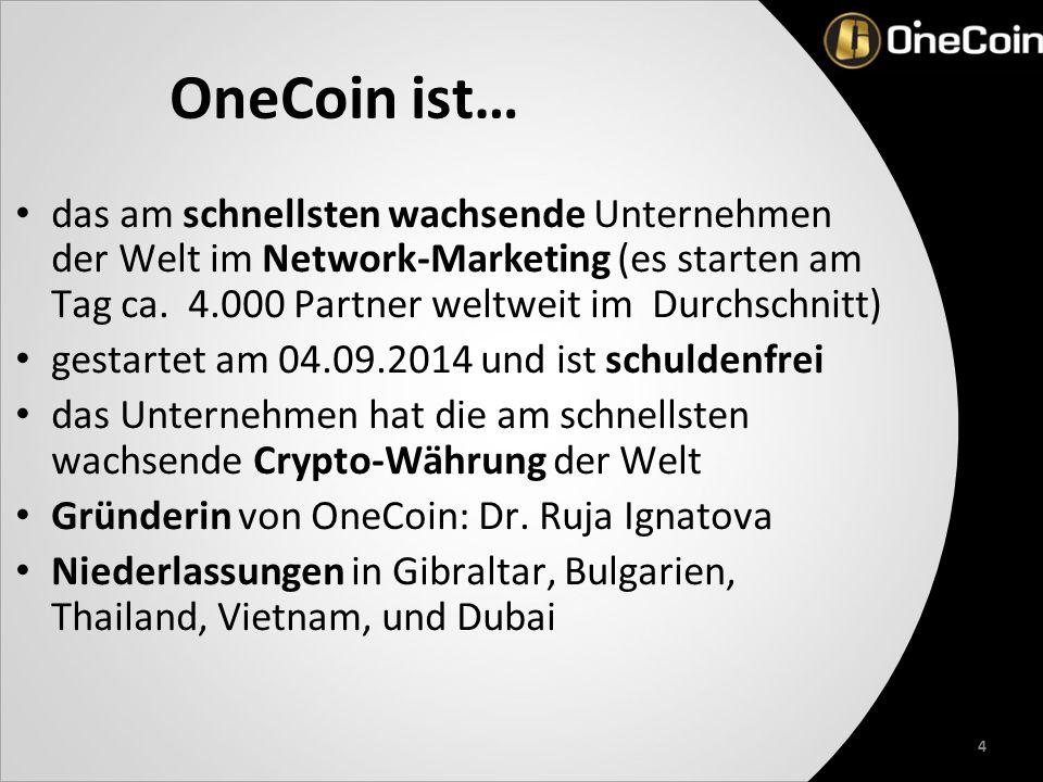 OneCoin ist… das am schnellsten wachsende Unternehmen der Welt im Network-Marketing (es starten am Tag ca.