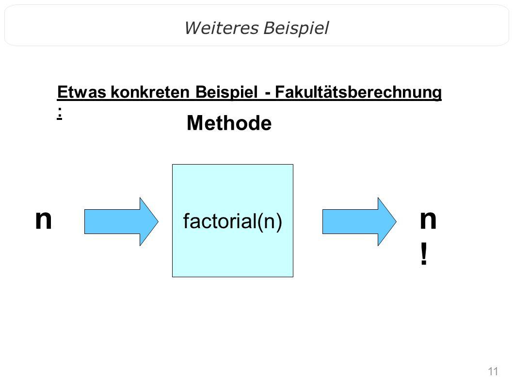 11 Weiteres Beispiel Methode n!n! factorial(n) n Etwas konkreten Beispiel - Fakultätsberechnung :