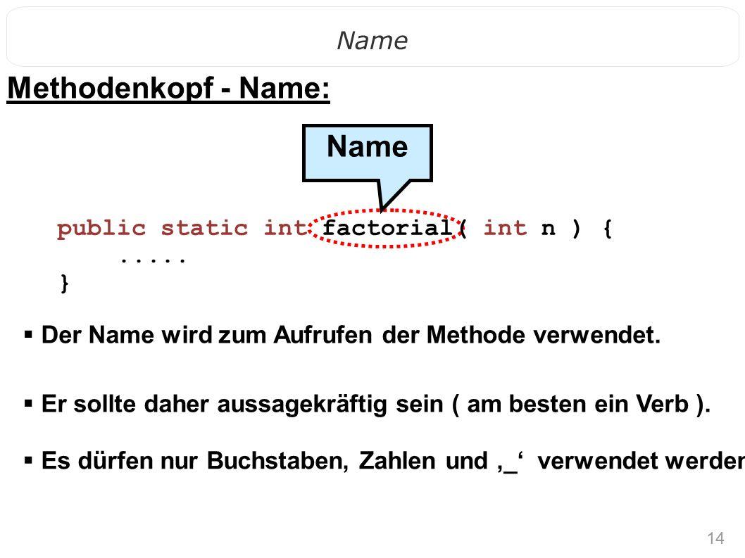 14 Name  Er sollte daher aussagekräftig sein ( am besten ein Verb ). Name public static int factorial( int n ) {..... } Methodenkopf - Name:  Der Na