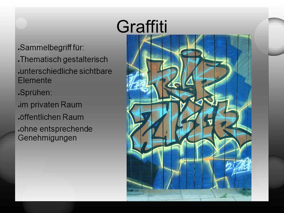 Graffiti ● Sammelbegriff für: ● Thematisch gestalterisch ● unterschiedliche sichtbare Elemente ● Sprühen: ● im privaten Raum ● öffentlichen Raum ● ohne entsprechende Genehmigungen