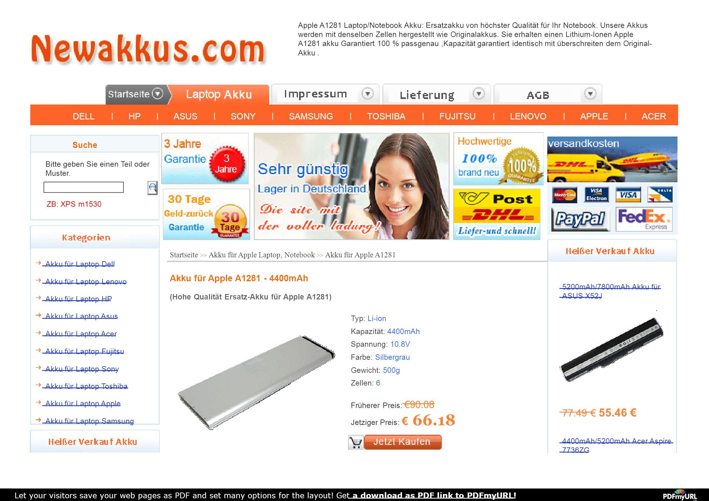 Apple A1281 Laptop/Notebook Akku: Ersatzakku von höchster Qualität für Ihr Notebook. Unsere Akkus werden mit denselben Zellen hergestellt wie Original