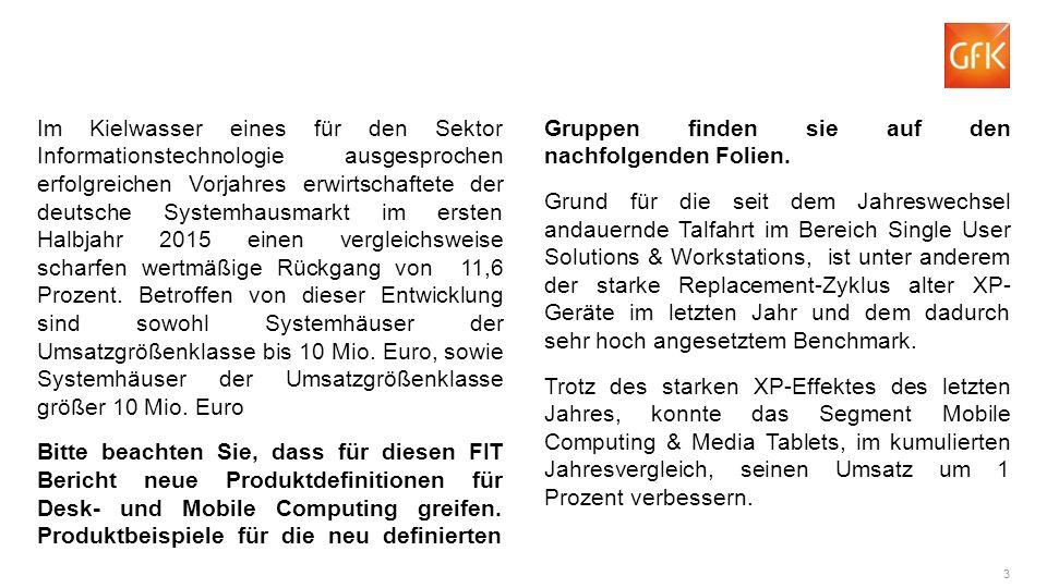3 Im Kielwasser eines für den Sektor Informationstechnologie ausgesprochen erfolgreichen Vorjahres erwirtschaftete der deutsche Systemhausmarkt im ersten Halbjahr 2015 einen vergleichsweise scharfen wertmäßige Rückgang von 11,6 Prozent.