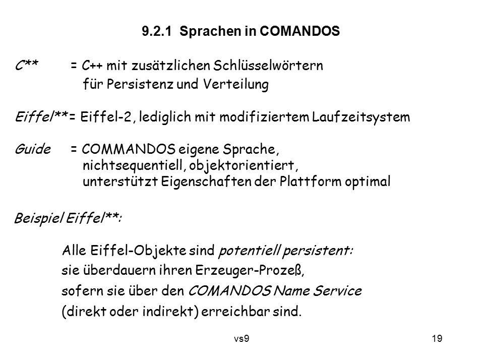 vs9 19 C** = C++ mit zusätzlichen Schlüsselwörtern für Persistenz und Verteilung Eiffel** = Eiffel-2, lediglich mit modifiziertem Laufzeitsystem Guide = COMMANDOS eigene Sprache, nichtsequentiell, objektorientiert, unterstützt Eigenschaften der Plattform optimal 9.2.1 Sprachen in COMANDOS Beispiel Eiffel**: Alle Eiffel-Objekte sind potentiell persistent: sie überdauern ihren Erzeuger-Prozeß, sofern sie über den COMANDOS Name Service (direkt oder indirekt) erreichbar sind.