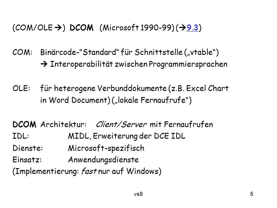 vs9 6 CORBA – Common Object Request Broker Architecture (Open Management Group [OMG] 1991...) http://www.corba.orgOpen Management Group http://www.corba.org ist Standard, nicht Produkt Architektur: objektorientiert/Fernaufrufe + Komponenten IDL:C++ -ähnlich Dienste:sehr reichhaltig Einsatz:Anwendungen, speziell Einbinden von Altsoftware EJB – Enterprise Java Beans (Sun 1998 …) Architektur: objektorientiert/Fernaufrufe (RMI) + Komponenten + Nachrichten IDL:(Java) Dienste:reichhaltig Einsatz:vielseitig, insbesondere Datenbank-Anwendungen