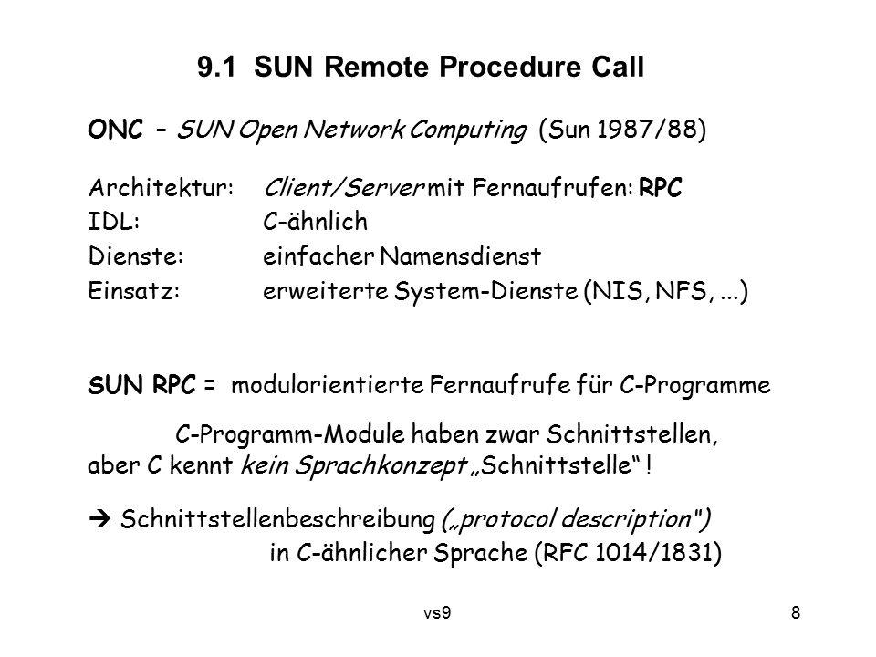 vs9 8 9.1 SUN Remote Procedure Call SUN RPC = modulorientierte Fernaufrufe für C-Programme C-Programm-Module haben zwar Schnittstellen, aber C kennt k
