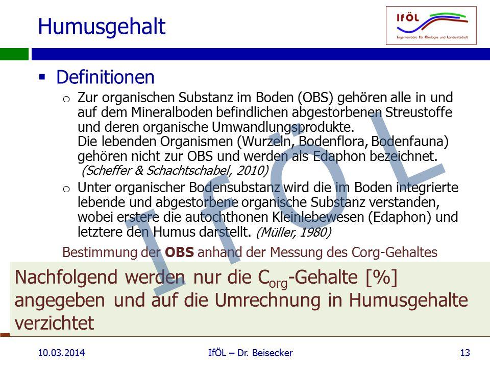 Humusgehalt  Definitionen o Zur organischen Substanz im Boden (OBS) gehören alle in und auf dem Mineralboden befindlichen abgestorbenen Streustoffe u