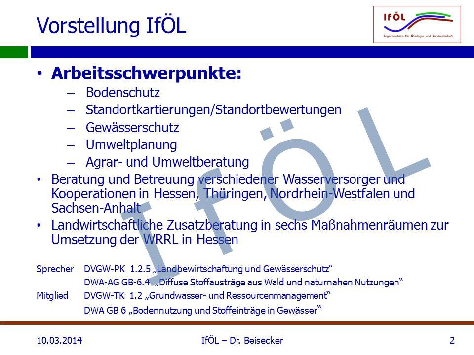 Vorstellung IfÖL 10.03.2014IfÖL – Dr. Beisecker2 Arbeitsschwerpunkte: – Bodenschutz – Standortkartierungen/Standortbewertungen – Gewässerschutz – Umwe