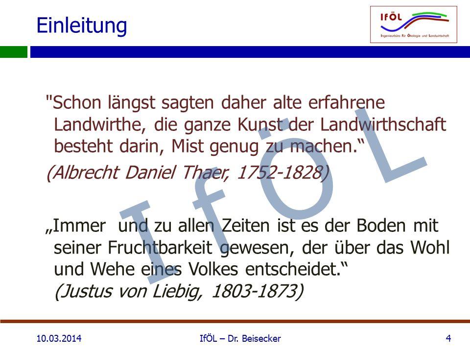 Einfluss der Bewirtschaftung 10.03.2014IfÖL – Dr. Beisecker25 I f Ö L