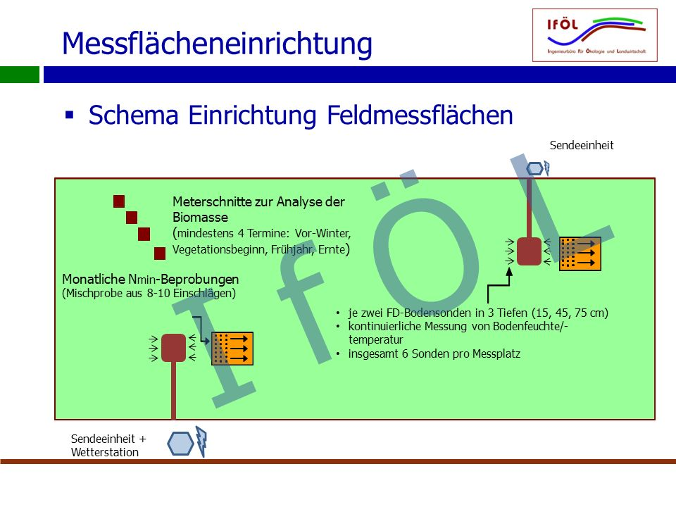Messflächeneinrichtung  Schema Einrichtung Feldmessflächen Monatliche N min -Beprobungen (Mischprobe aus 8-10 Einschlägen) Meterschnitte zur Analyse der Biomasse ( mindestens 4 Termine: Vor-Winter, Vegetationsbeginn, Frühjahr, Ernte ) Sendeeinheit + Wetterstation Sendeeinheit je zwei FD-Bodensonden in 3 Tiefen (15, 45, 75 cm) kontinuierliche Messung von Bodenfeuchte/- temperatur insgesamt 6 Sonden pro Messplatz I f Ö L