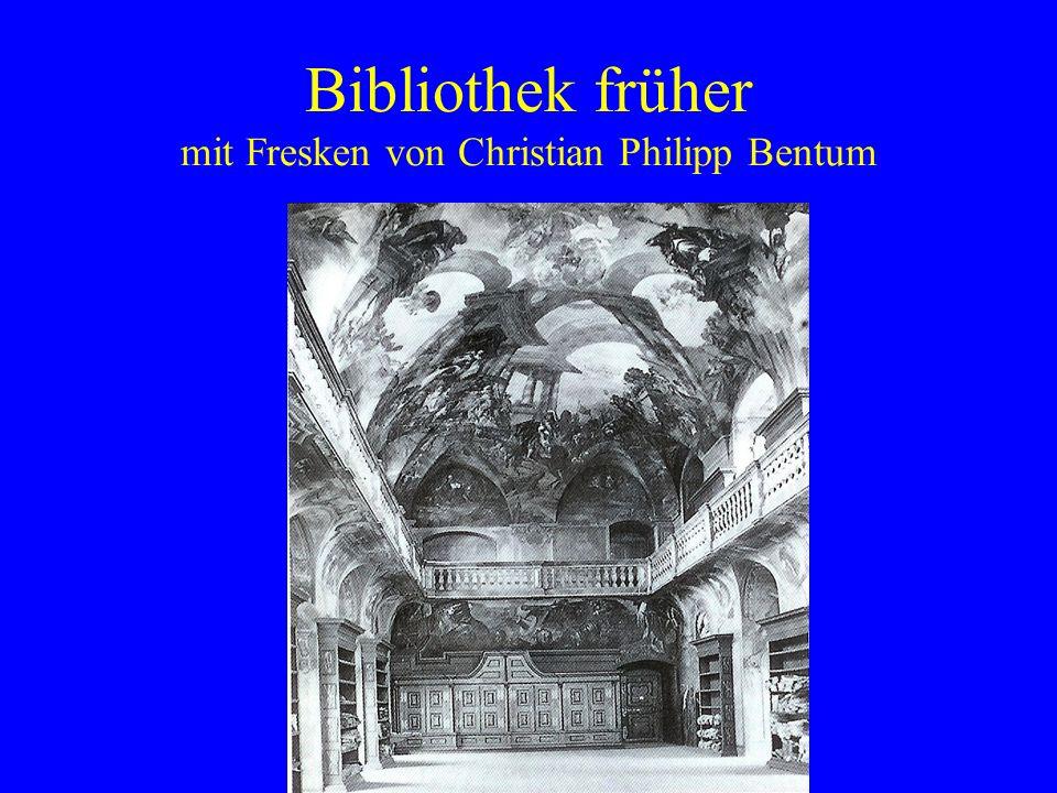 Bibliothek früher mit Fresken von Christian Philipp Bentum