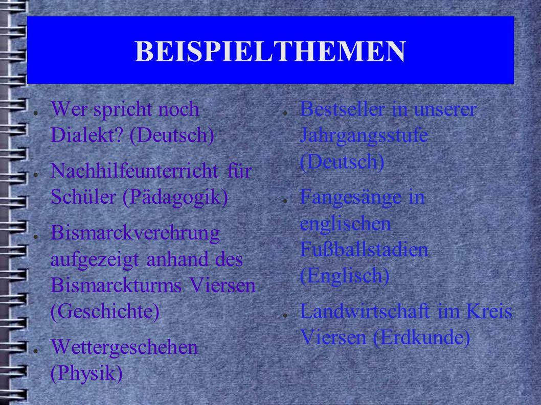 BEISPIELTHEMEN ● Wer spricht noch Dialekt.