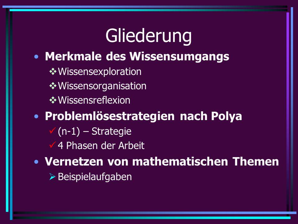 Gliederung Merkmale des Wissensumgangs  Wissensexploration  Wissensorganisation  Wissensreflexion Problemlösestrategien nach Polya (n-1) – Strategie 4 Phasen der Arbeit Vernetzen von mathematischen Themen  Beispielaufgaben