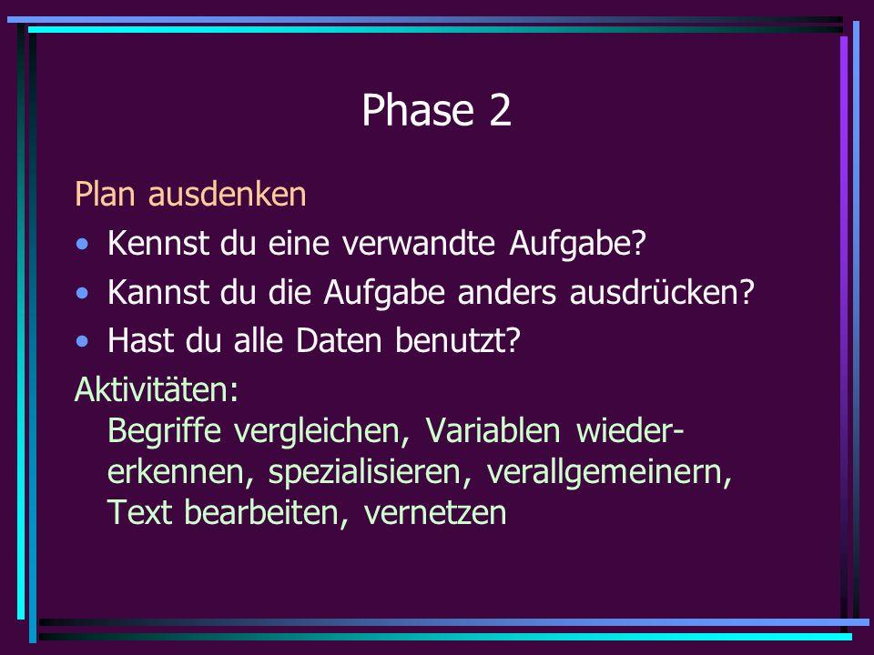Phase 2 Plan ausdenken Kennst du eine verwandte Aufgabe.