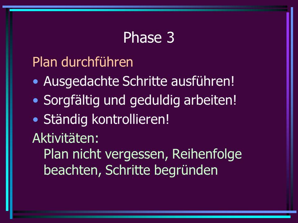 Phase 3 Plan durchführen Ausgedachte Schritte ausführen.