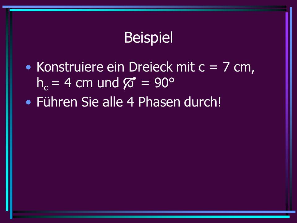 Beispiel Konstruiere ein Dreieck mit c = 7 cm, h c = 4 cm und  = 90° Führen Sie alle 4 Phasen durch!