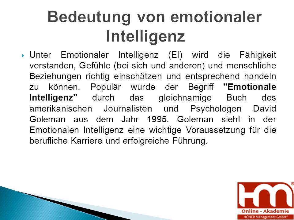  Unter Emotionaler Intelligenz (EI) wird die Fähigkeit verstanden, Gefühle (bei sich und anderen) und menschliche Beziehungen richtig einschätzen und entsprechend handeln zu können.