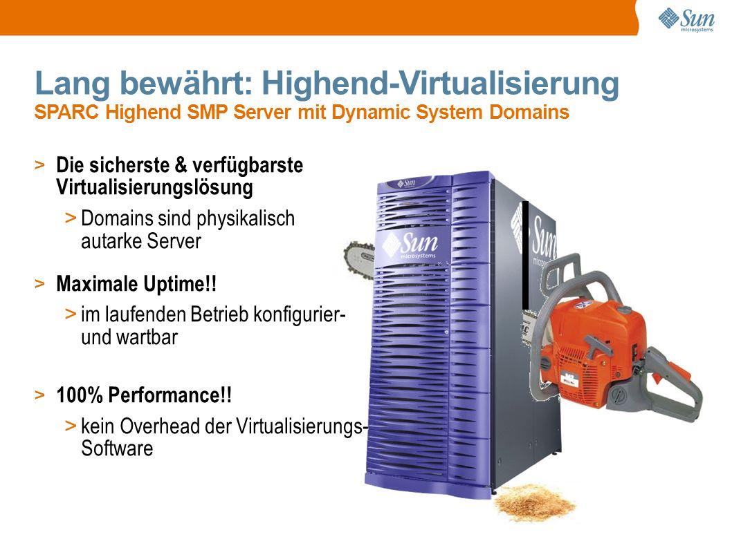 Lang bewährt: Highend-Virtualisierung SPARC Highend SMP Server mit Dynamic System Domains > Die sicherste & verfügbarste Virtualisierungslösung > Domains sind physikalisch autarke Server > Maximale Uptime!.